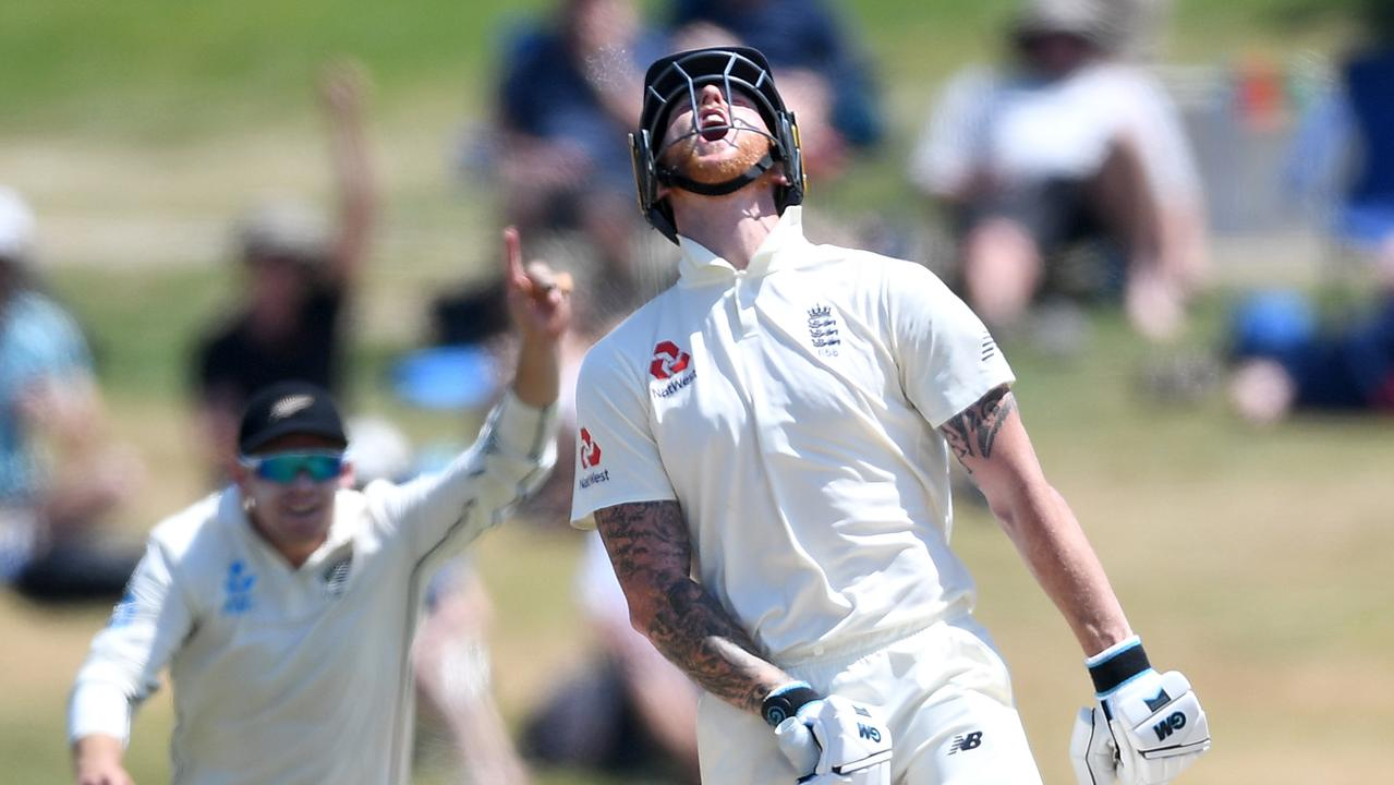 An exasperated Ben Stokes after being dismissed on the fifth day against the Kiwis.