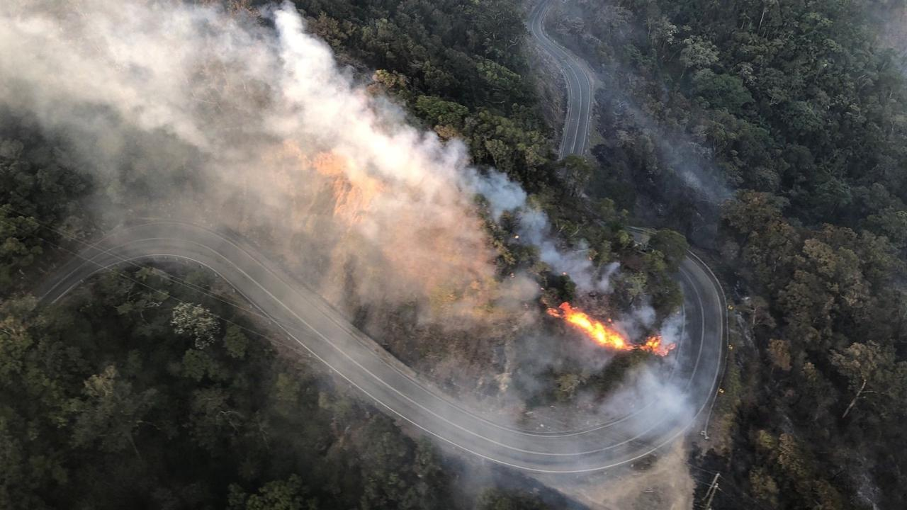 RACQ CQ Rescue evacuated nine people from Eungella as a bushfire threatened the township and closed the road up the range.