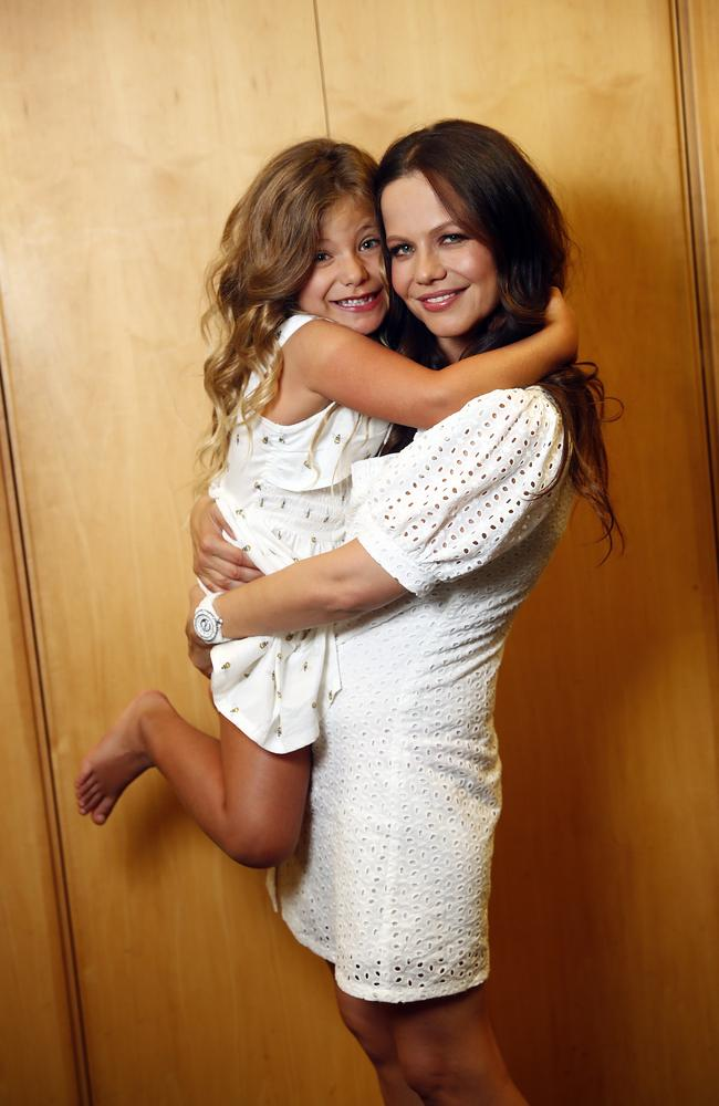 Australian actress Tammin Sursok with daughter Phoenix. Picture: Sam Ruttyn