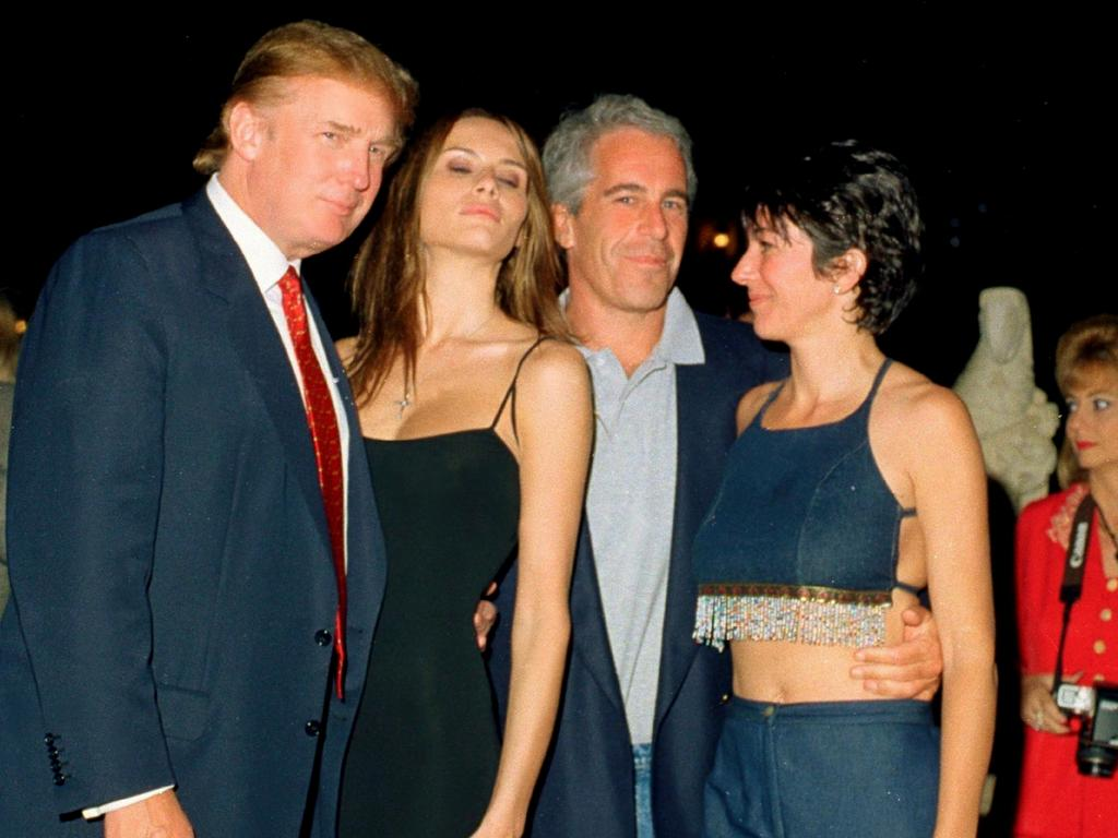 Donald Trump and his girlfriend (and future wife), former model Melania Knauss, financier Jeffrey Epstein, and British socialite Ghislaine Maxwell pose together at the Mar-a-Lago club, Palm Beach, Florida in 2000. Picture: Davidoff Studios/Getty Images