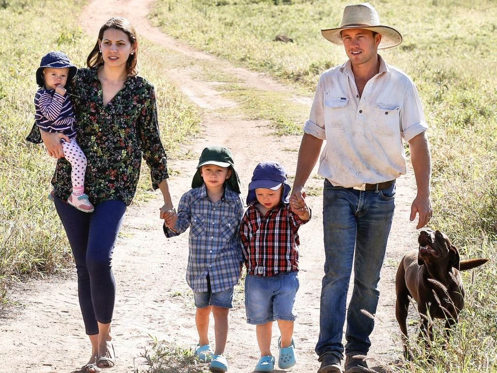 Graziers Matt and Sonia Bennetto with children Elsie, 1, Bruno, 4, and Louis, 3. Picture: Michael Chambers