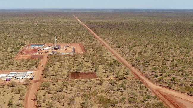 Kyalla 117, 600km south-east of Darwin, between Daly Waters and Elliott, is the first of two new Origin Energy appraisal wells to be drilled and fracture stimulated to help determine the potential of the resource in the Beetaloo Basin. Picture: Supplied