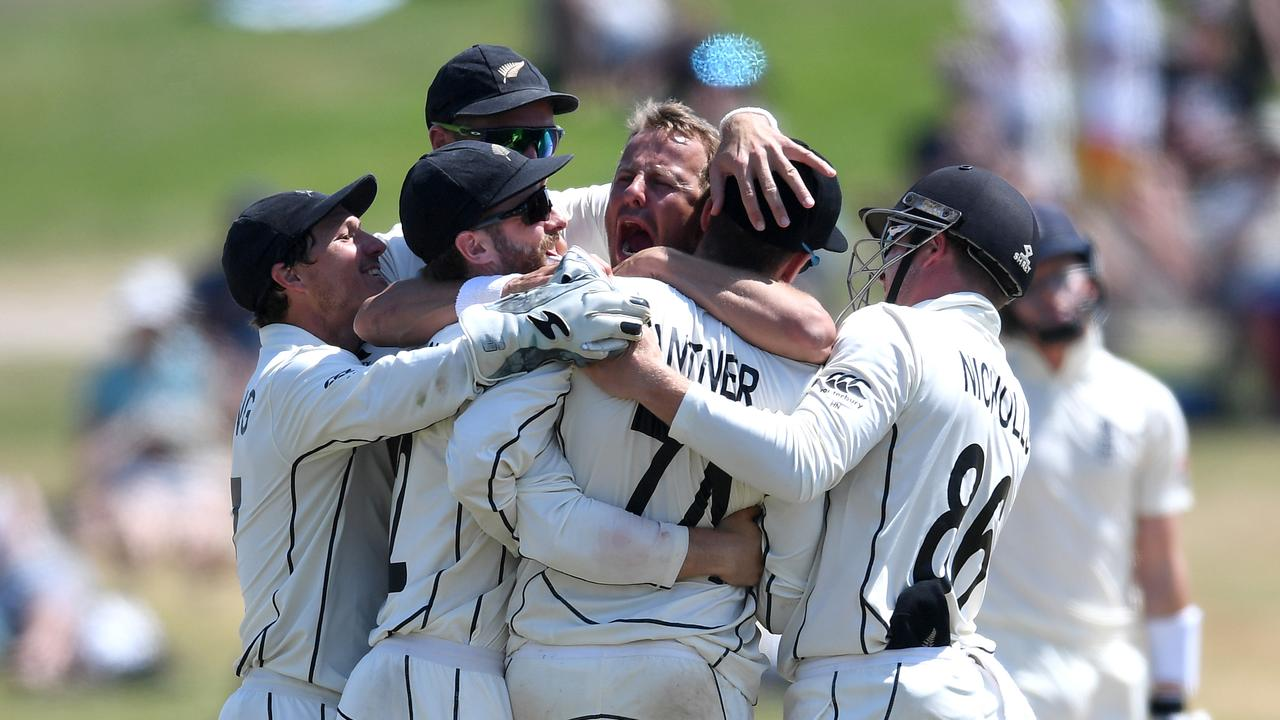 New Zealand celebrate winning the first Test.