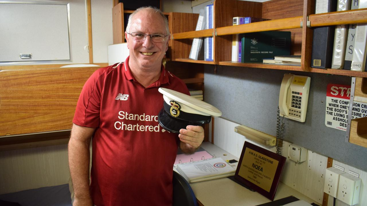 Peter Cooper stands in his old cabin aboard HMAS Gladstone