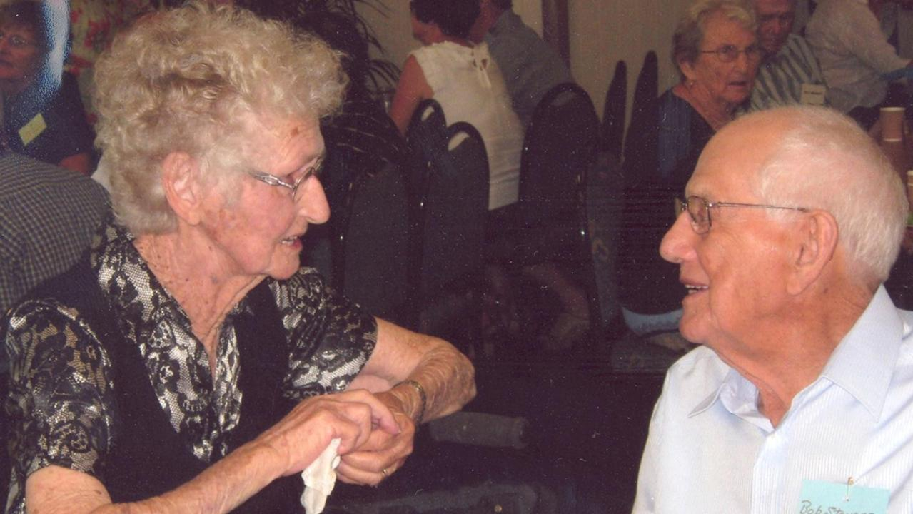 Laura Osborn, 89, and Bob Stevens, 89, chat at the Te Kowai State School reunion held recently. Bob was one of three to cut the reunion cake. Laura did not attend the school but accompanied her daughter, Thelma, to the school on a push bike. Thelma attended the school from 1944 -1947.