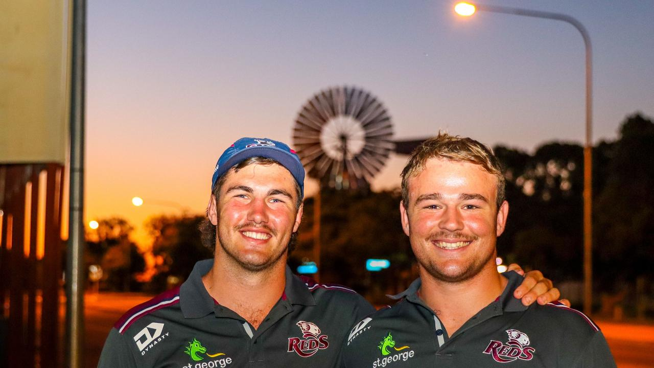 Queensland Reds players Liam Wright (left) and Harry Wilson visiting Barcaldine on the Reds-to-Regions tour. Photo: Tom Mitchell, QRU