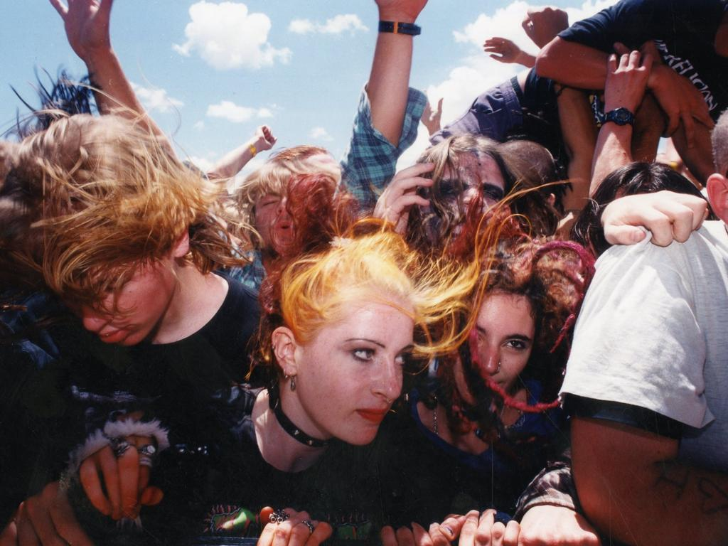 Music fans mosh during the Big Day Out in 1996 where Nick Cave, Porno for Pyros and Rage Against the Machine headlined.