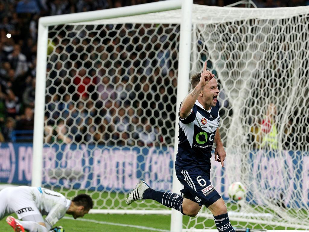 Melbourne Victory's Leigh Broxham celebrates his goal in the 2015 A-League grand final. Picture: George Salpigtidis