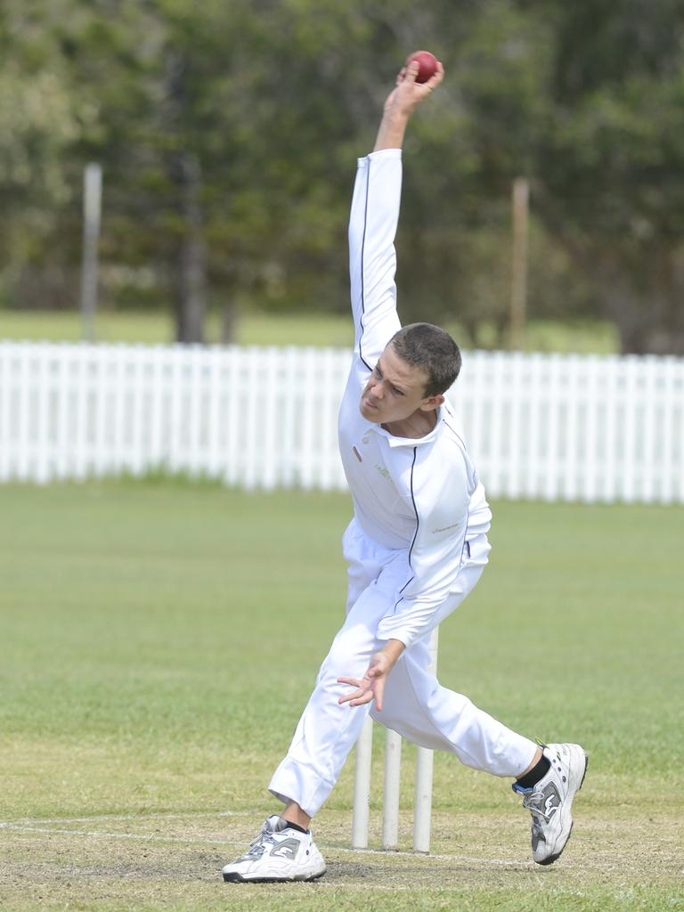 Coby Tabor bowling for Maclean United last year. Photo: Caitlin Charles