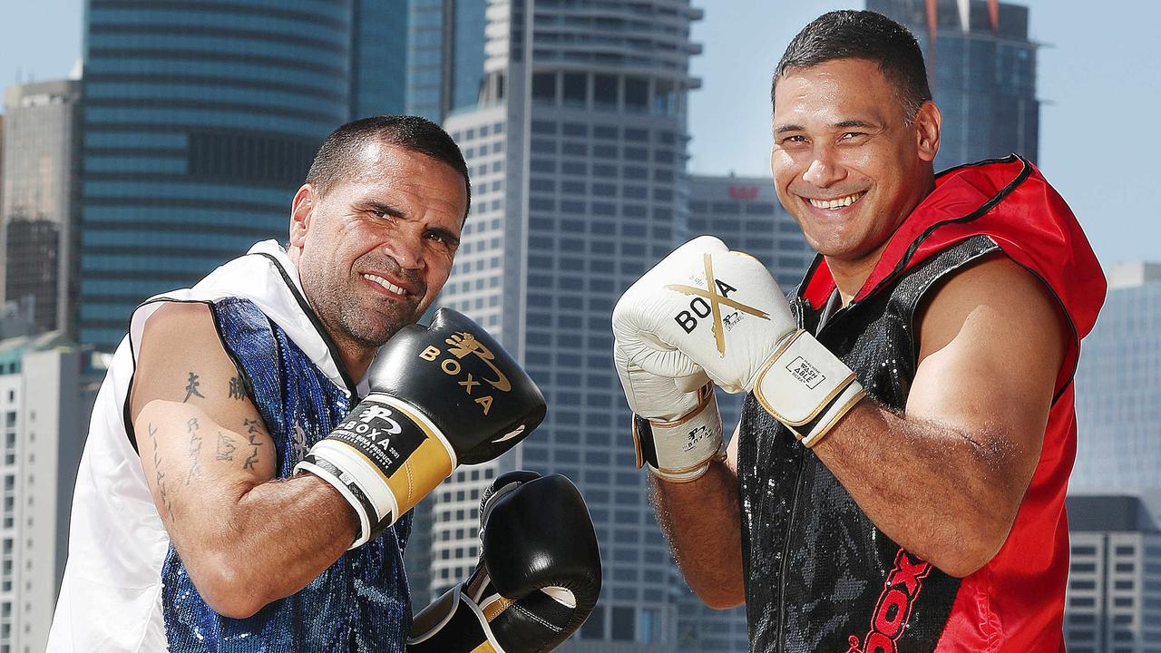 NRL great Justin Hodges (right) and former world boxing champ Anthony Mundine in Brisbane. Picture: Annette Dew