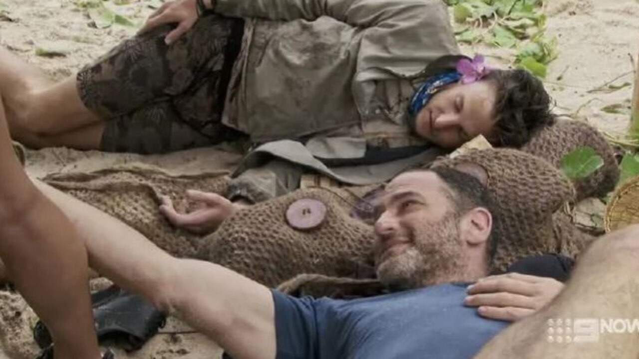 Dan patting contestant Missy's leg at camp. Picture: Channel 9