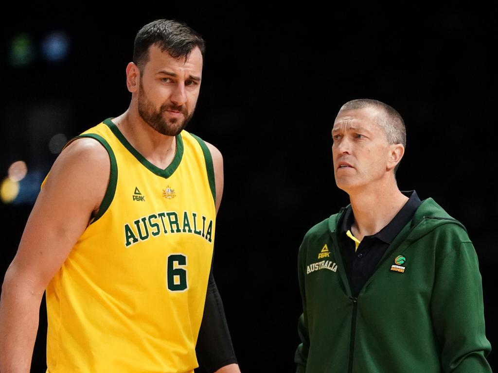 Outgoing coach Andrej Lemanis (R) welcomed Brett Brown to the Boomers. Picture: AAP Image/Scott Barbour