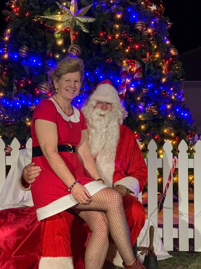 Gayndah Rotary Club secretary Dael Giddins with Santa at the lighting of the Community Christmas Tree on Friday night. Photo: Contributed