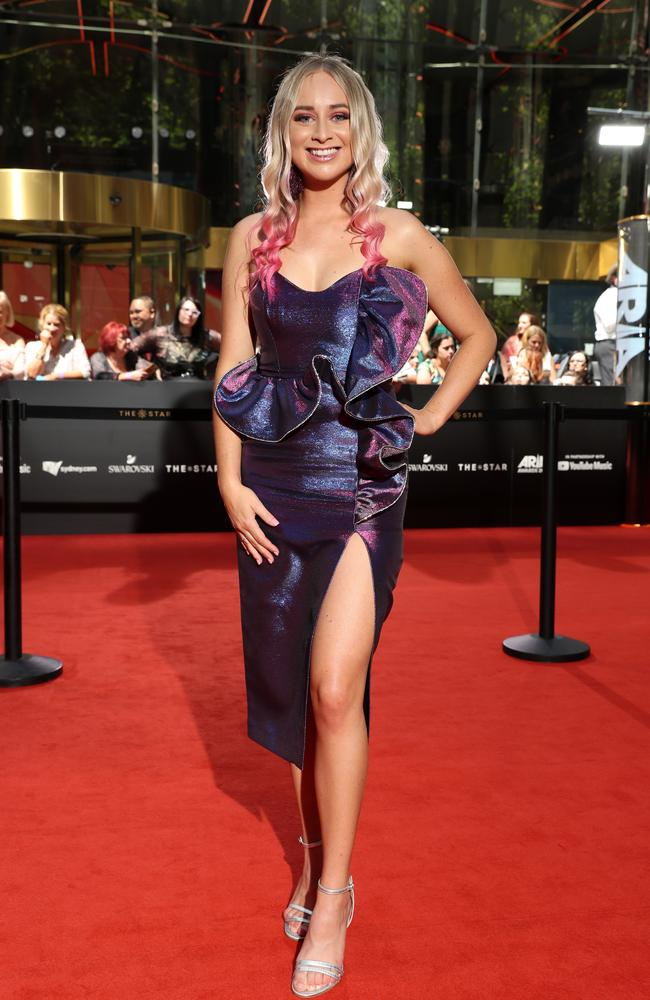 Melanie Dyer on the red carpet of the Aria Awards 2019, held at The Star Event Centre, Pyrmont. Picture: Jonathan Ng