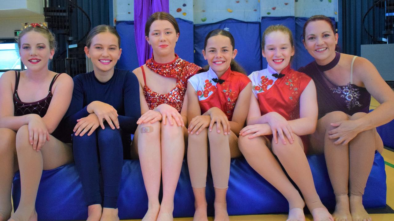 Gympie aerialists from Aerial Dreaming – (from left) Chelsea Connelly, Jasmine Falloon, Layni Kennedy, Mia Kennedy, Hayley James and Hannah McLaren. Photos: Bec Singh