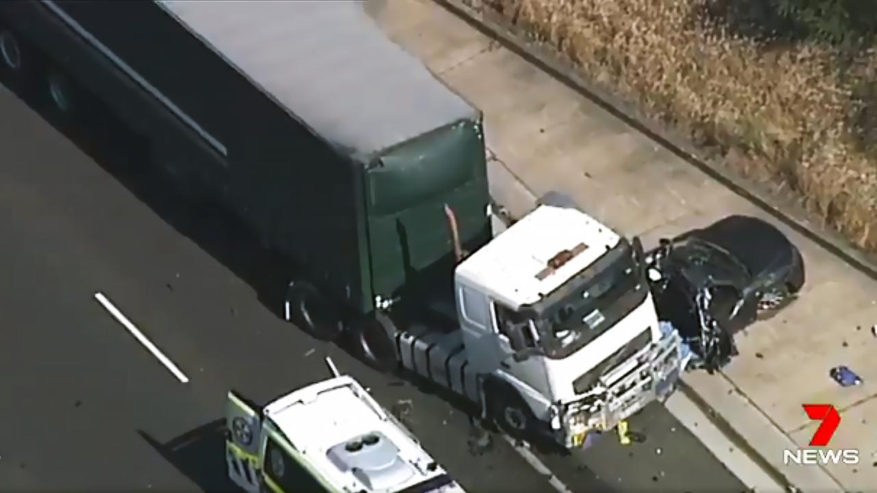 The truck collided with a car on the M5 motorway. Picture: Seven News