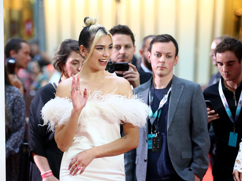 Dua Lipa pictured on the red carpet at the 2019 ARIA Awards held at The Star in Pyrmont. Picture: Toby Zerna