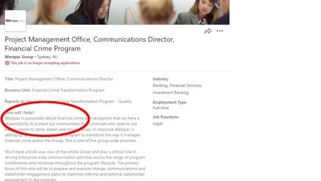 Westpac has an awkward job ad on LinkedIn.