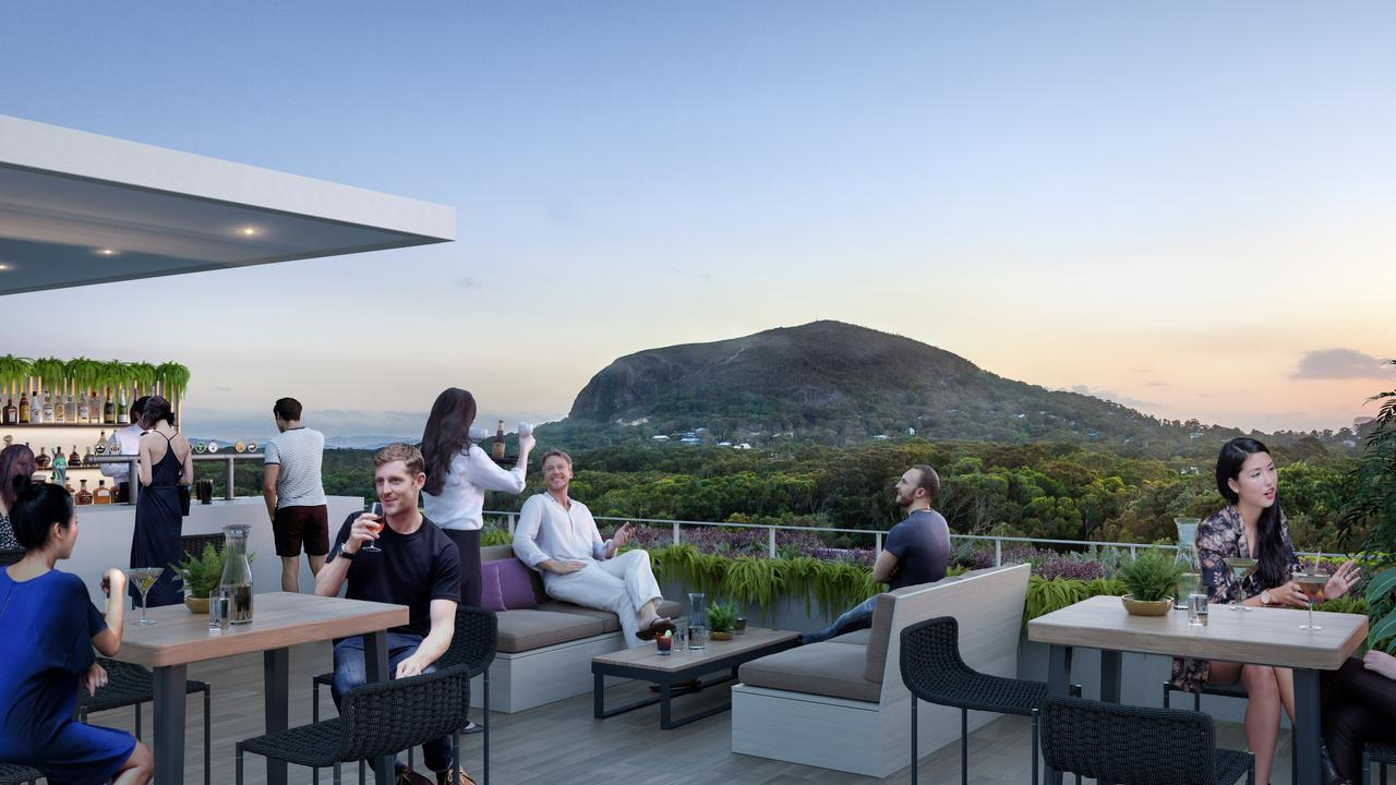An architect said Sekisui has been designed in a way which would complement the landscape, rather than to detract from it. Pictured is the Rooftop Bar which would sit atop Sekisui's five-star resort, set against the backdrop of Mount Coolum. Photo: Contributed