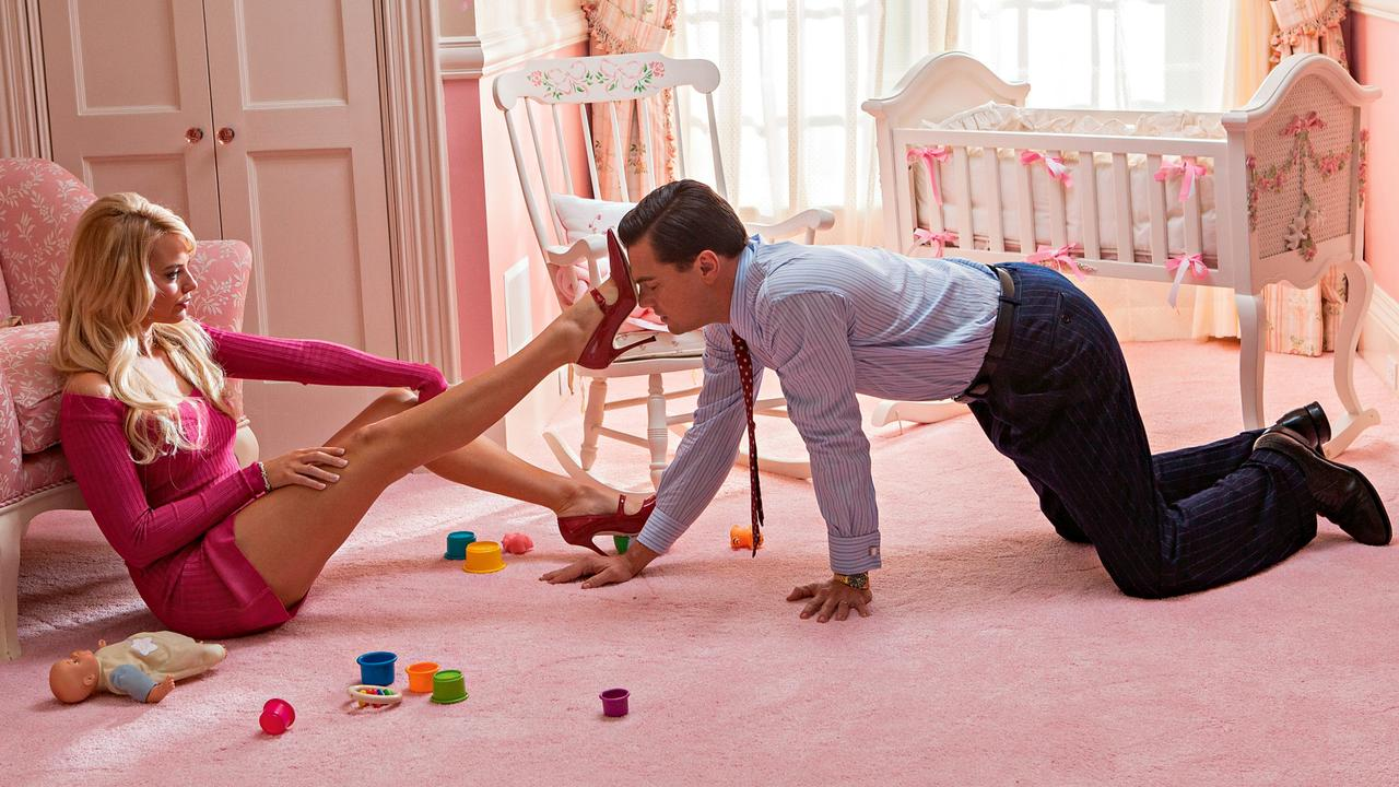 Margot Robbie and Leonardo DiCaprio in The Wolf of Wall Street.