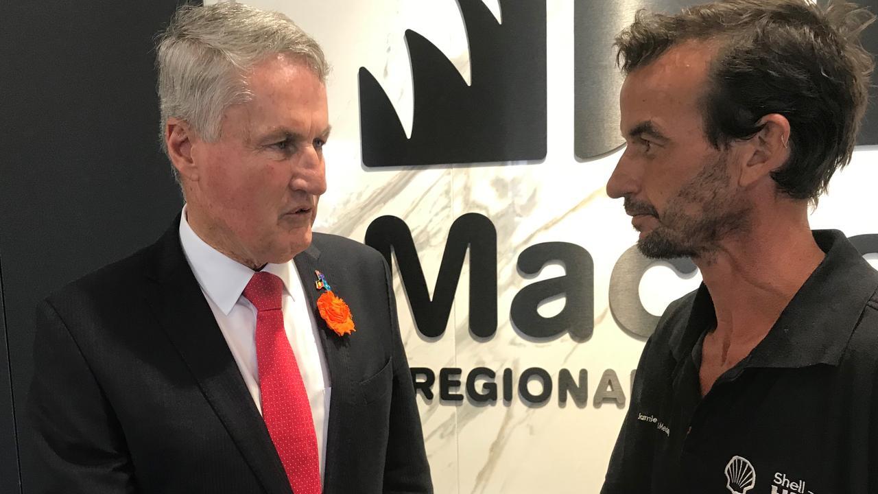 Mackay Mayor Greg Williamson organising a private meeting with business owner Jamie Ferguson.