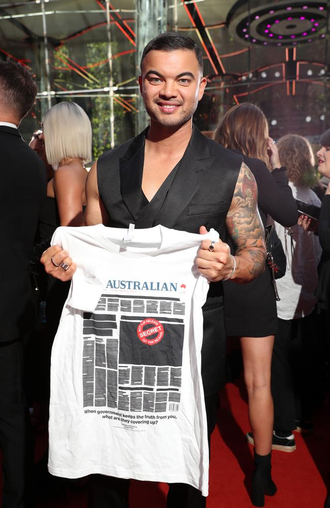 ARIA Awards host Guy Sebastian backs the press freedom campaign. Picture: Jonathan Ng