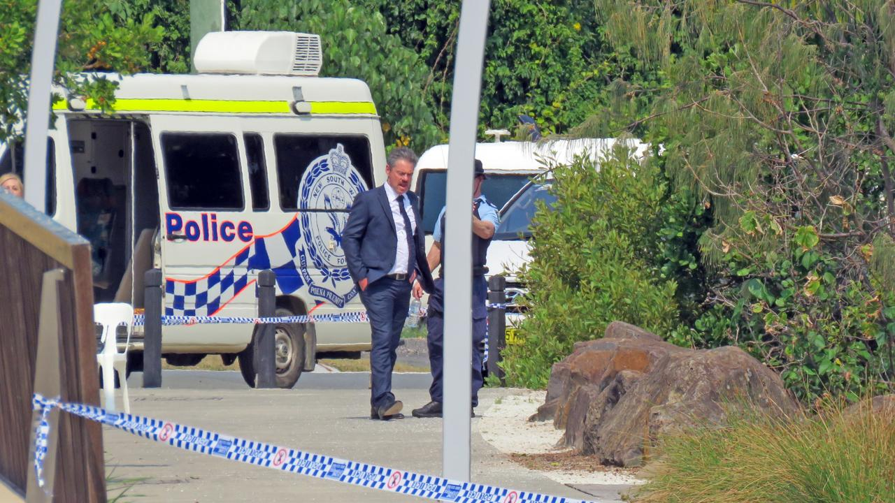 The crime scene at Tweed Heads Jack Evans Boat Harbour Park where a man was found dead in a sleeping bag. Picture: Jodie Calcott.