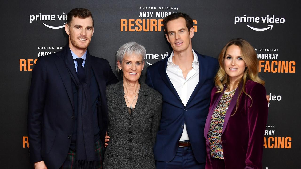 Andy Murray with his family at the premiere of 'Andy Murray: Resurfacing' in London. Picture: Gareth Cattermole/Getty Images