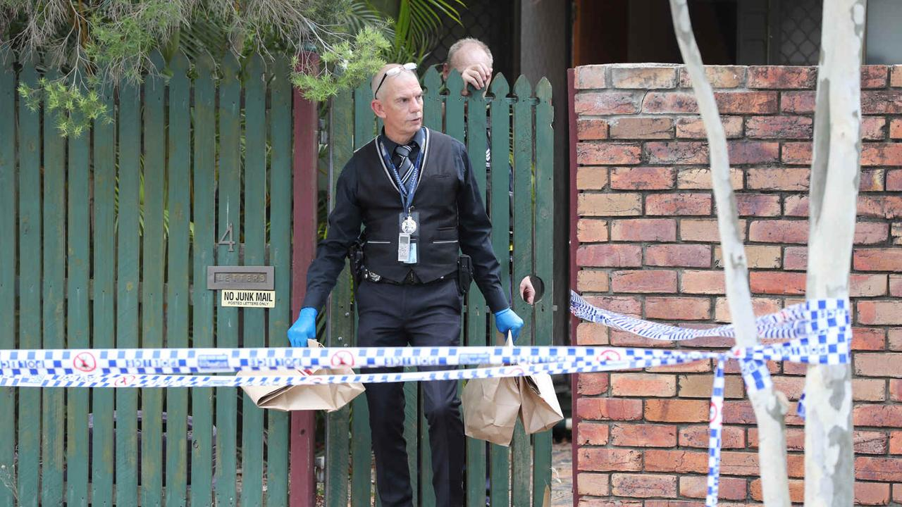 Police at a crime scene at Sunray Street in Sunnybank Hills. Pic Peter Wallis