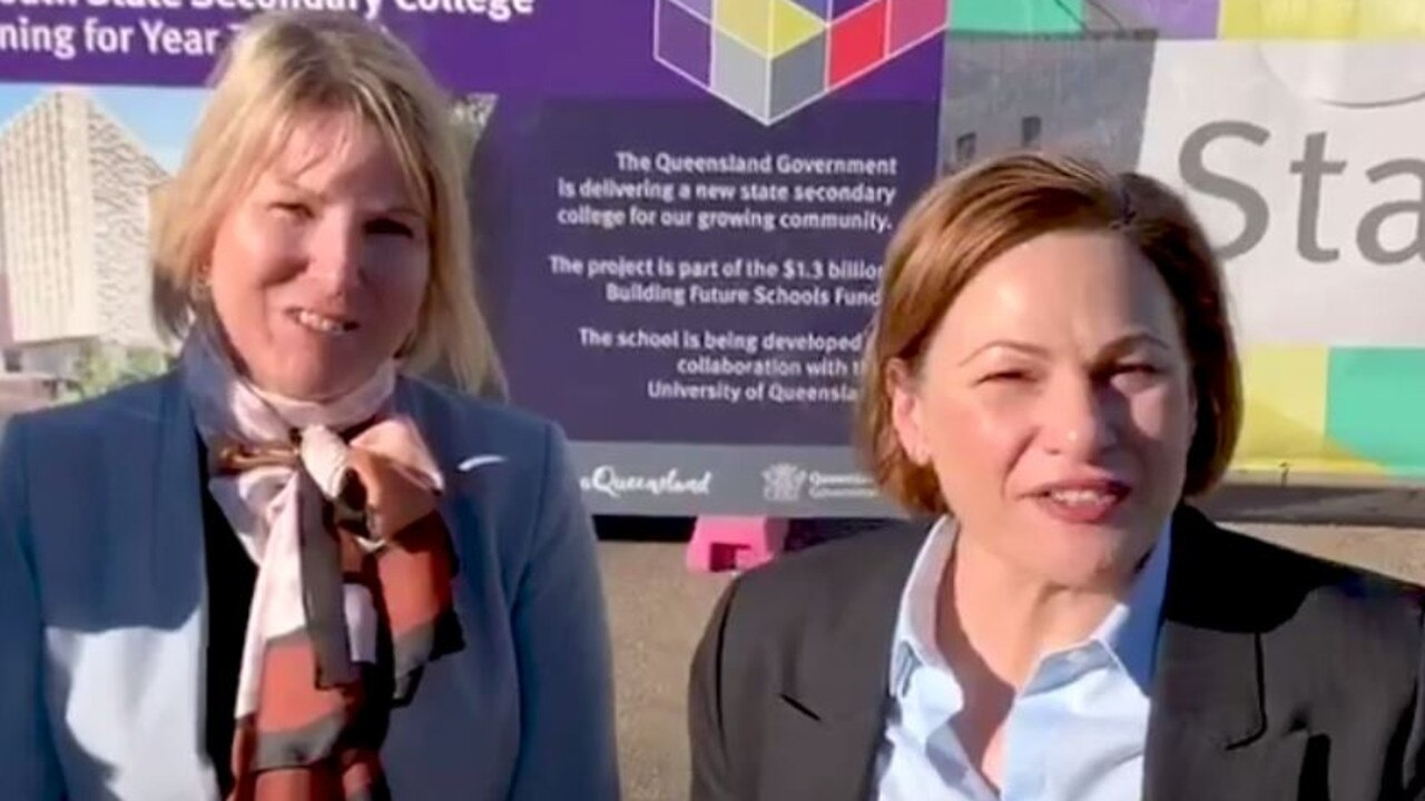 Inner City South State Secondary College executive principal Kirsten Ferdinands and Deputy Premier Jackie Trad celebrate the school's construction in an online video posted to Facebook in September.