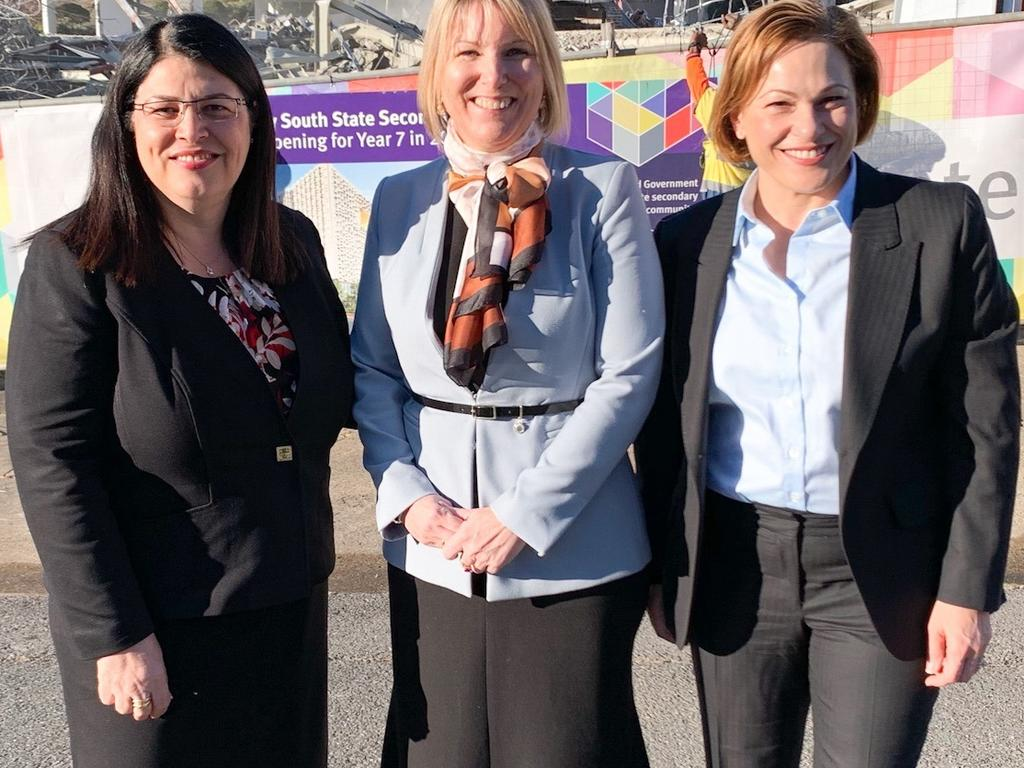 Education Minister Grace Grace (left) and Member for South Brisbane Jackie Trad (right) with Inner City South State Secondary College foundation principal Kirsten Ferdinands