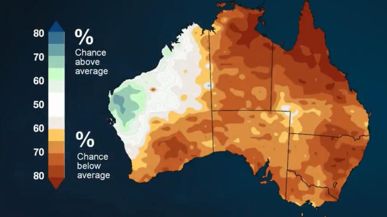 Chance of more or less rain: December is likely to be drier than average across much of Australia, including eastern Tasmania. Picture: Bureau of Meteorology
