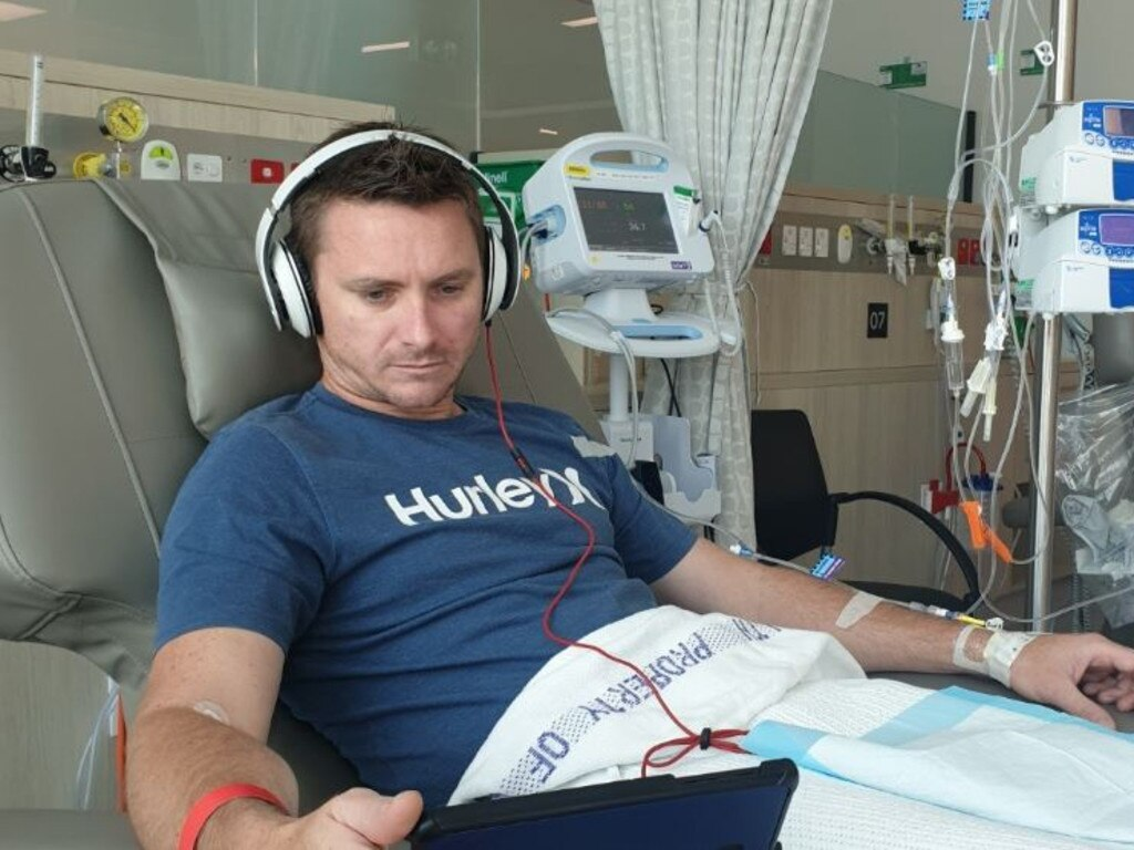 Mooloolaba's Adam Nightingale was struck down with testicular cancer last month but is on the road to recovery.