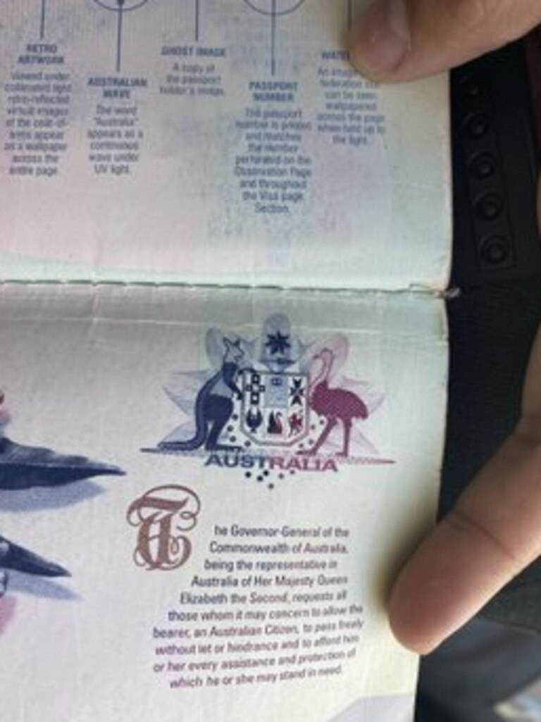 The partially damaged passport. Picture: Instagram