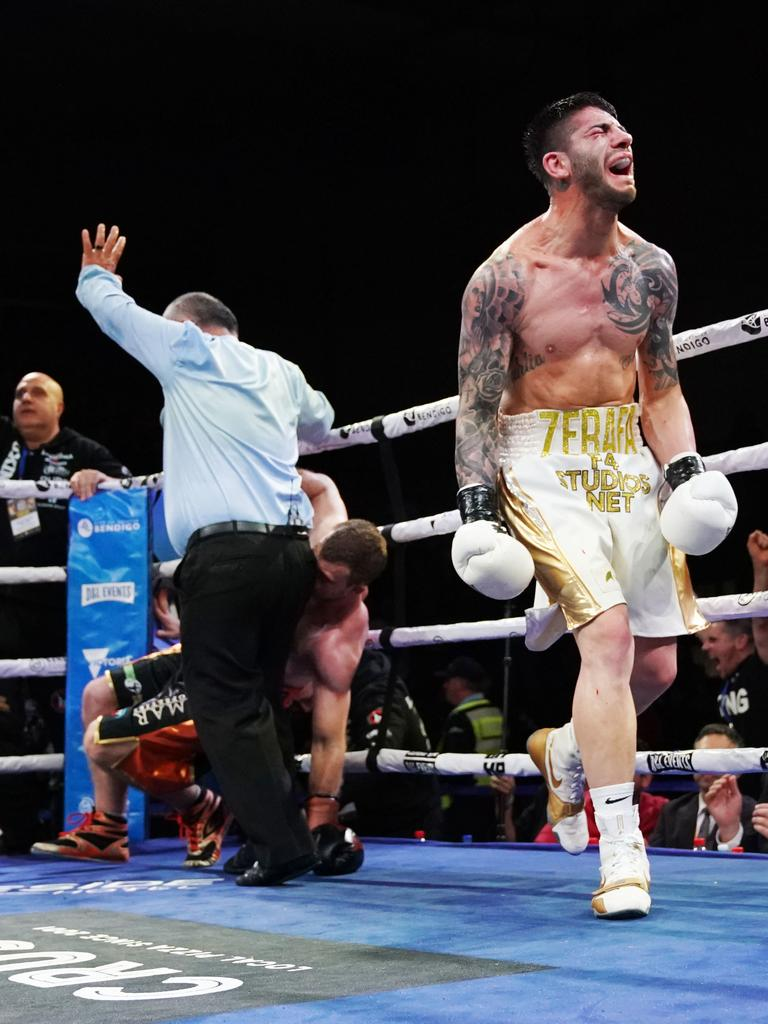 Michael Zerafa celebrates the win against Jeff Horn at the Bendigo Stadium on August 31. (AAP Image/Michael Dodge)