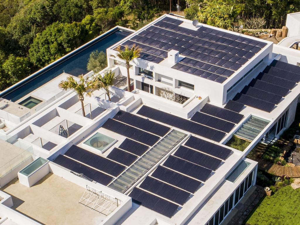 The 4.2 hectare mega-mansion is fitted with hundreds of solar panels. Picture: Media Mode