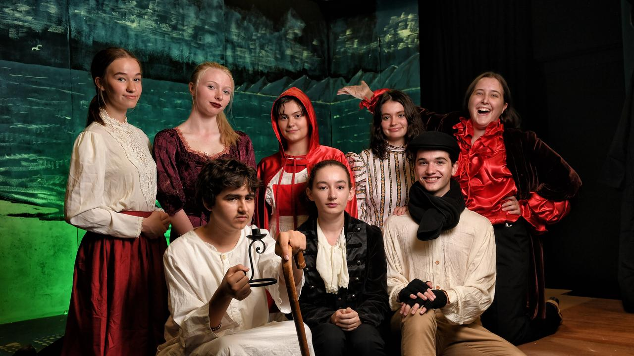 The Young Theatricals acting group is performing A Christmas Carol. Jack Barrett, Emily Sweet and Joseph Savage with (back row) Georgia Wright, Olivia Reid, Alisha Djemal-Mawer, Kelly Griffin and Gwen Parker.