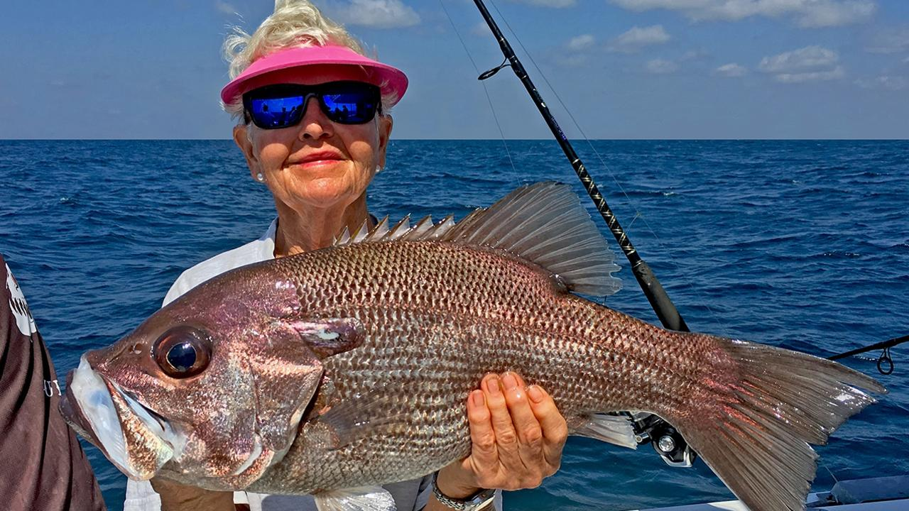 GOTCHA – Mandy Webb from the Noosa Yachtie Fishing Club boated this thumper pearl perch while on a Cougar One charter to Double Island Point photo: www.fishingnoosa.com.au
