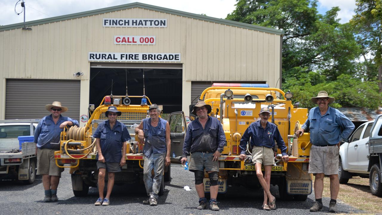 Rural Fire volunteers Scott Elliott, Norm Drew, Joe Mastropaolo, Michael Seymour, Kevin Hutchison and Viv Dodt at the Finch Hatton Rural Fire Station.