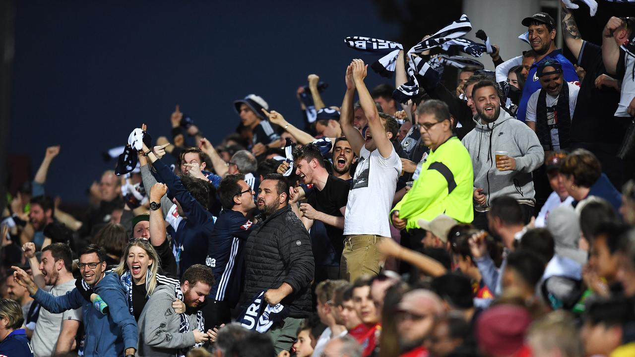 Victory fans cheer their only goal during the round 7 loss to Adelaide United. (Photo by Mark Brake/Getty Images)