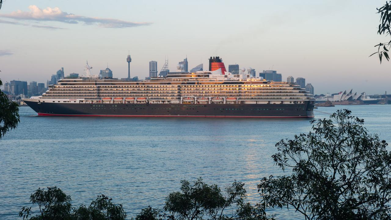 The Queen Mary 2 visits Sydney Harbour. Picture: James Morgan