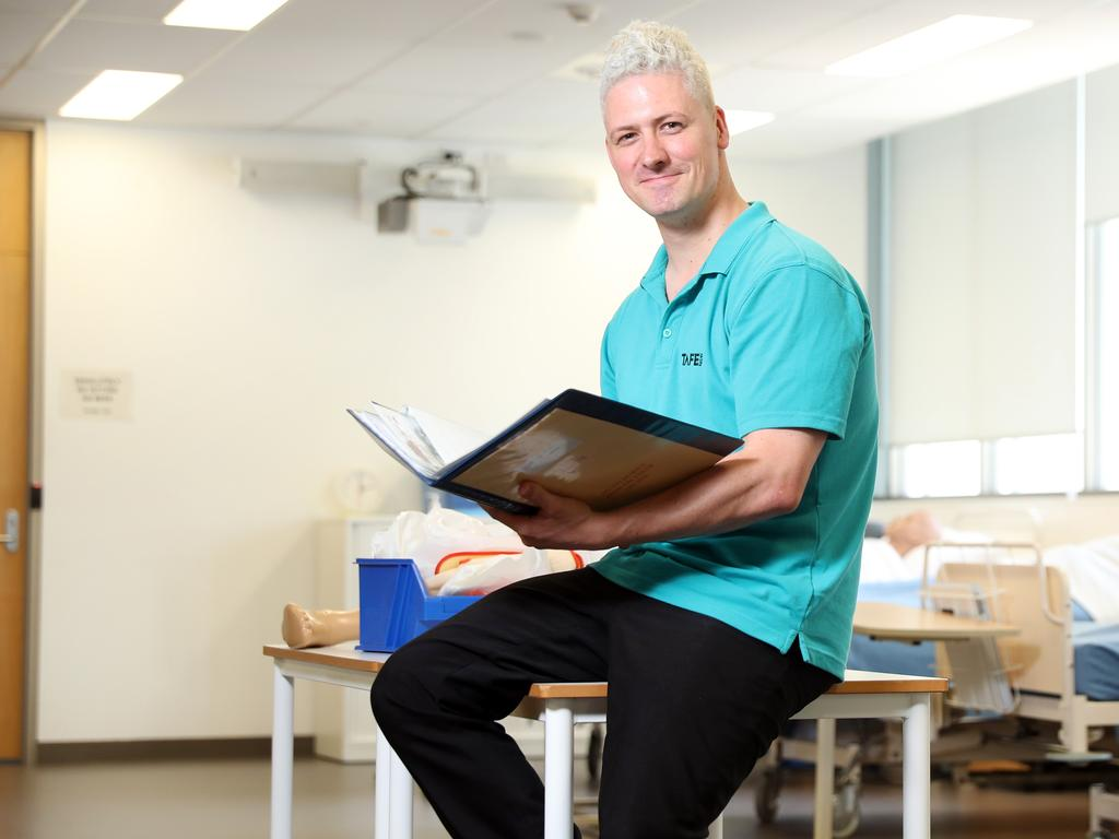 James Davey is studying a Certificate IV in Ageing Support through TAFE NSW. Picture: Richard Dobson