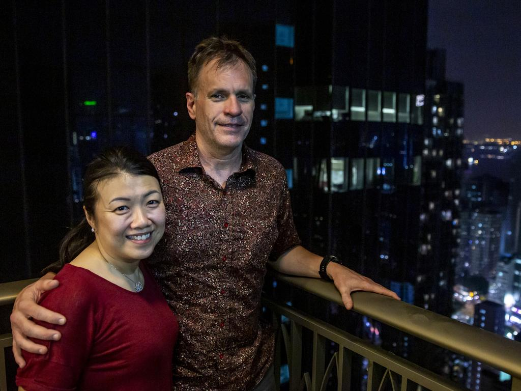 Australian expat Gregory Simpson and his wife Abby say they have no intention to leave Hong Kong. Picture: Isaac Lawrence