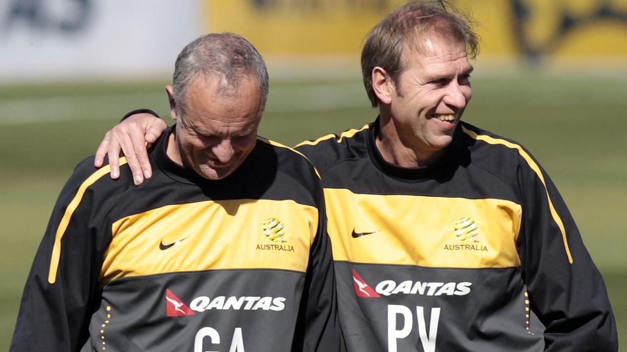 Socceroos coach Pim Verbeek, right, and assistant coach Graham Arnold during a training session in Johannesburg in June 2010. Picture: Rob Griffith/AP