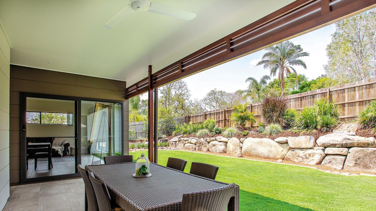 The backyard features a beautiful garden. Photo: Contributed