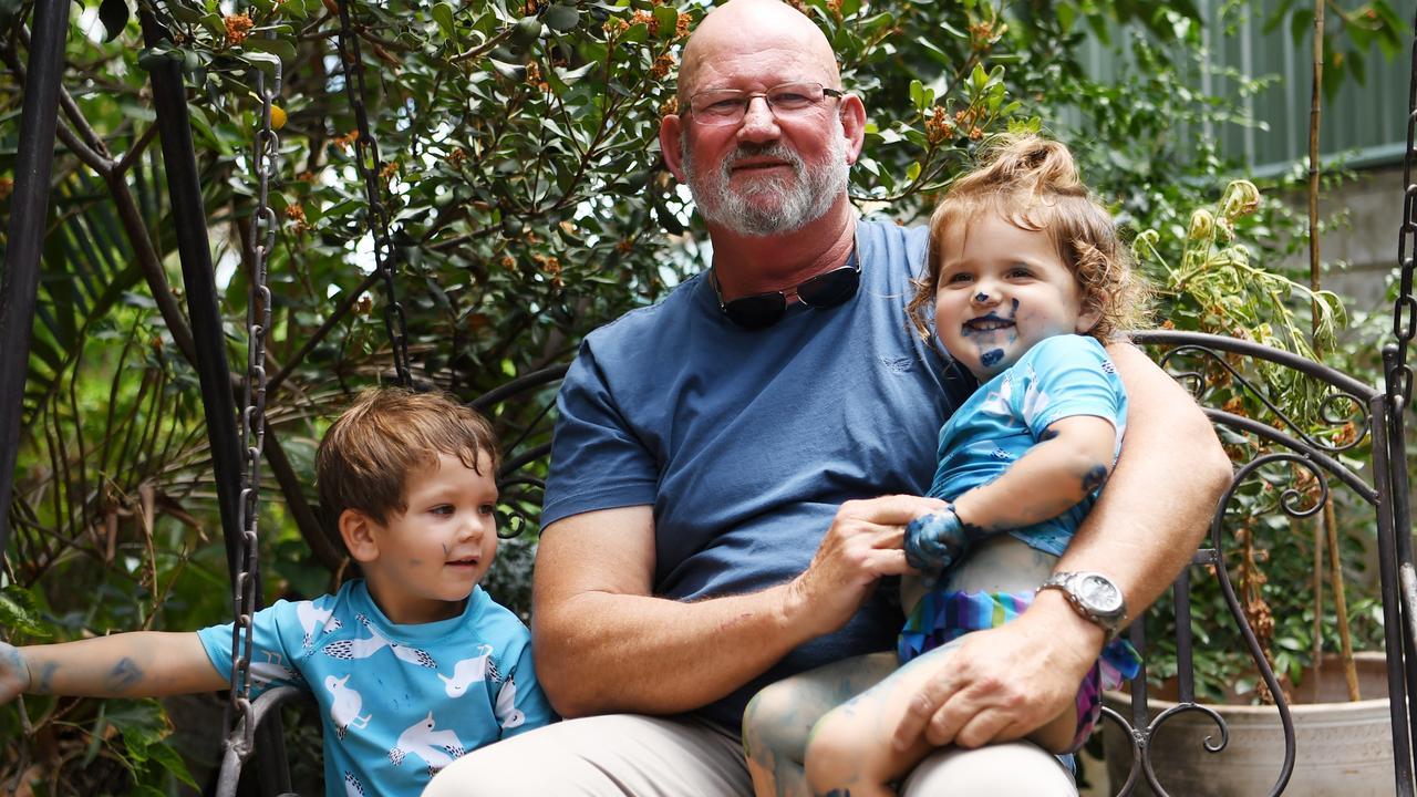 Bill Byrne with his grandchildren Wyatt Jenkins and Isla Kani.