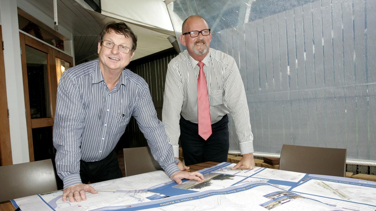 MP Robert Schwarten and Bill Byrne unveil plans for riverbank revdevelopment in 2012.