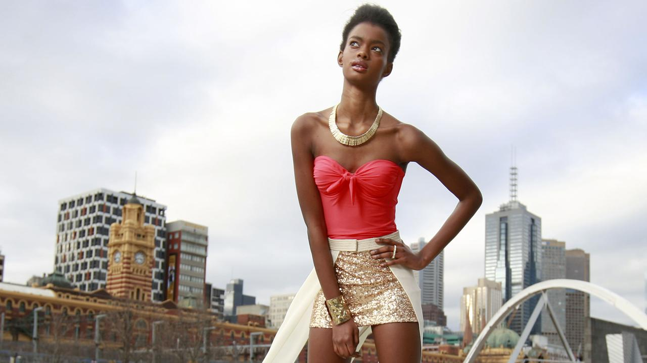 Australian model Adau Mornyang fell foul of US authorities while on a flight to Los Angeles.