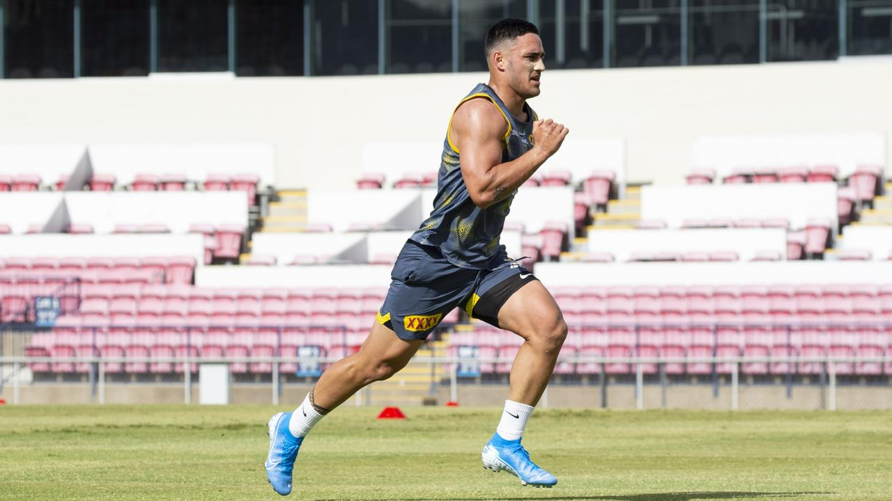 Holmes was put through fitness tests at his new club. Picture: NQ Cowboys
