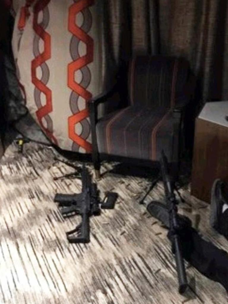Inside shooter Stephen Paddock's suite at the Mandalay Bay Hotel and Casino in Las Vegas. Picture: Supplied